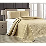 "3-Piece TAUPE Oversize ""Stella Grande"" Bedspread QUEEN / FULL Embossed Coverlet set 106 by 100-Inch"