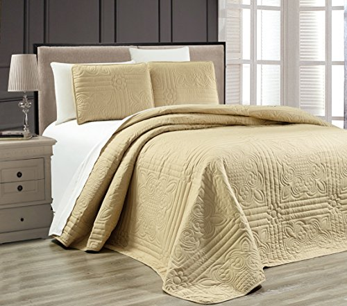 3-Piece BEIGE / TAUPE Oversize STELLA GRANDE Bedspread KING / CAL KING Embossed Coverlet set 118 by -
