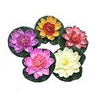 HUELE-5PCSSet-Floating-Artificial-Lotus-Flowers-Decor-Floating-Pond-Decor-Water-Lily-Home-Decoration