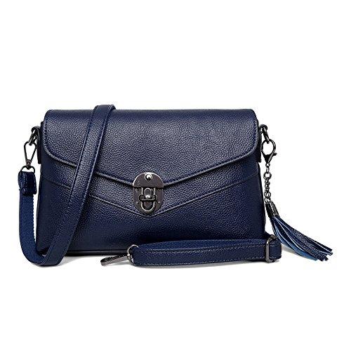 DHFUD Bolso De Hombro De Las Mujeres Bolso Diagonal Paquete Hebilla De Moda Pequeño Bolso Cuadrado Blue
