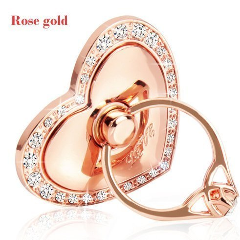 (Phone Stand, Luxury Updated Re-Usable Metal Stainless Phone & Tablet Anti Drop Ring Stand Holder with Diamonds for iPhone iPod iPad Samsung and More (Heart Shape) (Rosegold))