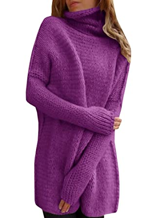 54ceb9891c34 Inorin Womens Pullovers Sweater Cowl Neck Knit Oversized Long Sleeve Soft  Jumpers Tops at Amazon Women s Clothing store
