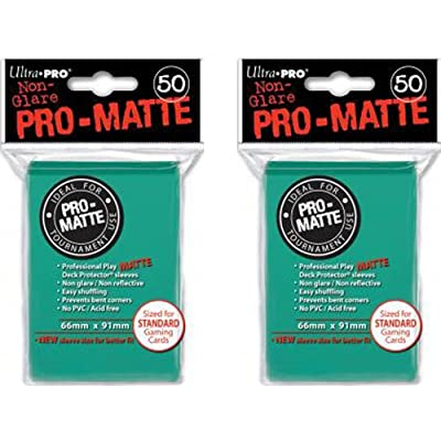 100 Ultra Pro Aqua PRO-MATTE Deck Protectors Sleeves Standard MTG Colors (1, Aqua): Beauty