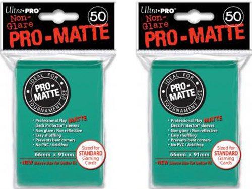 - 100 Ultra Pro Aqua PRO-MATTE Deck Protectors Sleeves Standard MTG Colors (1, Aqua)