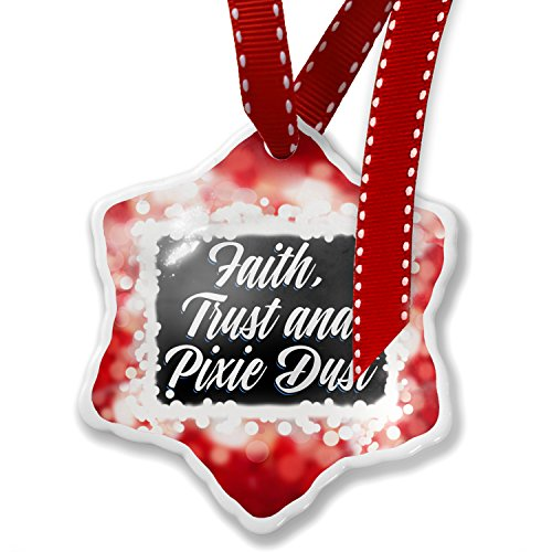 Christmas Ornament Classic design Faith, Trust and Pixie Dust, red - Neonblond by NEONBLOND