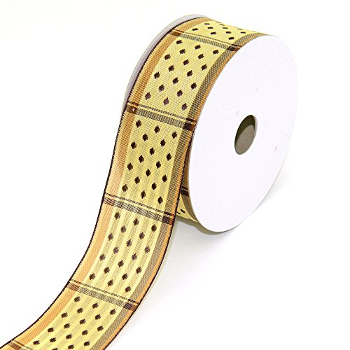 Creative Ideas Fabric 1-1/2-Inch Wired Dippy Dots Ribbon, 10-Yard, Toffee