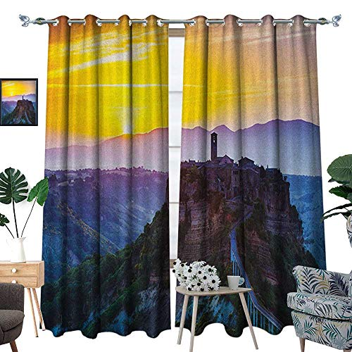 - Warm Family Italian Patterned Drape for Glass Door Old Historic Castle Town on Top of The Hills in Italian Renaissance at Sunset Print Waterproof Window Curtain W108 x L96 Multicolor
