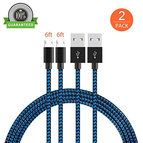 KMISS Micro USB Cables, [2-Pack 6FT] Extra Long Nylon Braided [Fast Charger Cord] Sync and Charge for Android Devices, Samsung Galaxy S7 Edge/S6/S5/S4,Note 5/4/3,HTC,LG,Nexus (6FT Black/Blue)