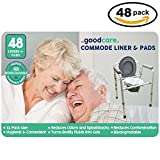 Medical Grade Commode Liners with Super Absorbent Pads Plus Bonus Wipes (48 of Each) Disposable and Biodegradable for Bedside Hygiene