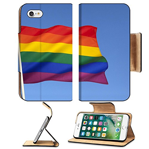 (Luxlady Premium Apple iPhone 7 Flip Pu Leather Wallet Case IMAGE ID: 24231815 The rainbow flag or gay pride flag is a symbol of lesbian gay bisexual and transgender pride It origin)