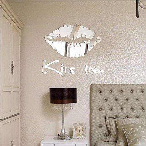Home Décor Usstore 1PC Kiss Me Mirror Floral Art Removable Decoration For Bedroom living bathroom House Shop Office Windows Decor Ornament (Silver)