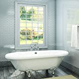 Luxury 72 inch Large Clawfoot Tub with Vintage Tub Design in White, includes Polished Chrome Ball and Claw Feet and Drain, from The Northfield Collection
