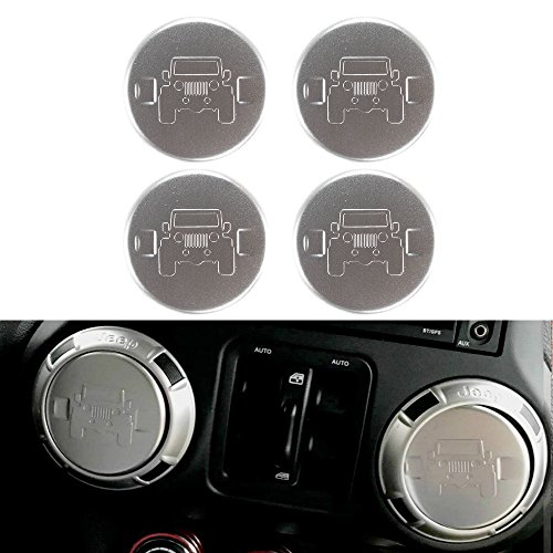 Santu 4PCS Car Air Conditioning Vent Trim Cover Jeep Interior Decoration Accessories for Wrangler JK 2007 UP (Silver)