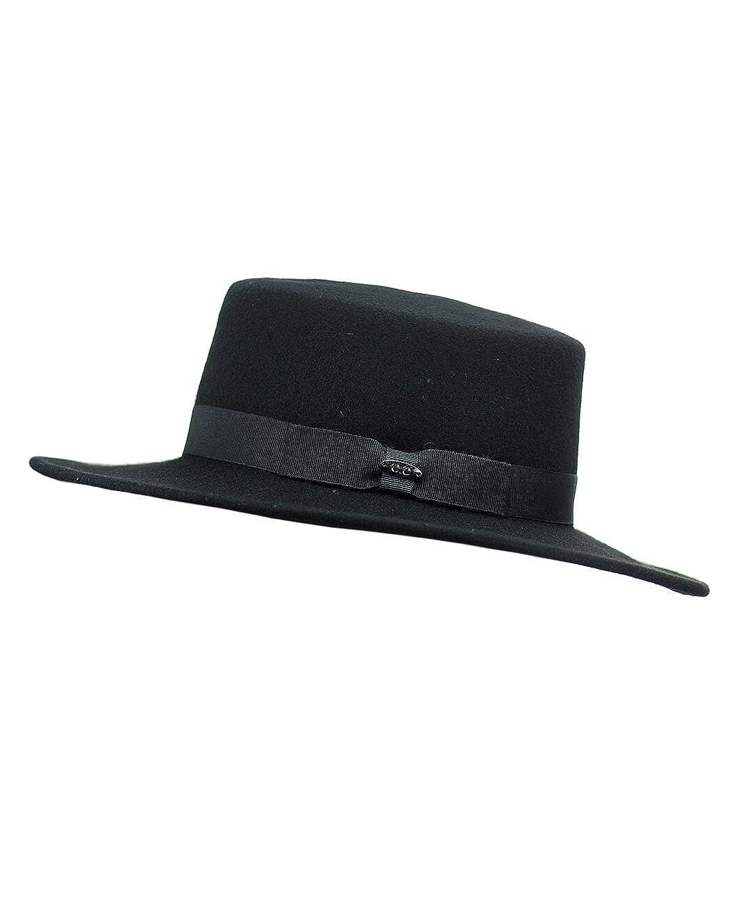 cafc300622d748 NYFASHION101 Wool Wide Brim Porkpie Fedora Hat w/Simple Band Accent - Black  at Amazon Women's Clothing store: