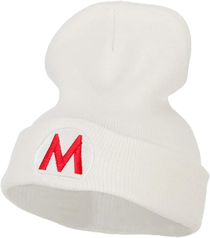 White slouchy Super Mario beanie for adults