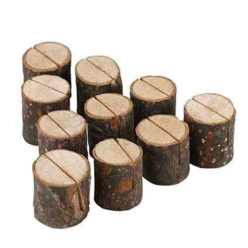 (Royal Brands (10 Pc) Rustic Wood Place Card Holders Round Table Number Holder Stand Wooden Bark Memo Holder Card Photo Picture Note Clip Holders Bulk Wedding Party)
