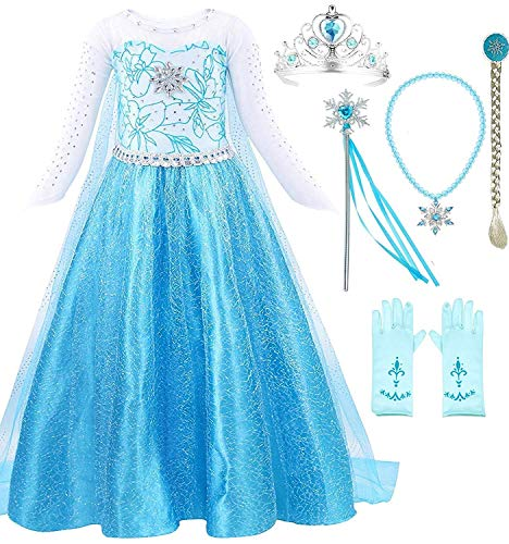 Snow Queen Elsa Princess Party Dress Costume with Accessories (5-6, Style -