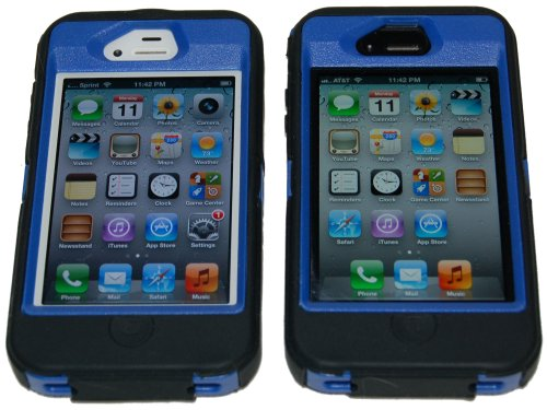 Iphone-44s-Body-Armor-Defender-Case-Black-on-Blue-Bonus-Free-USB-Color-Charging-Cord