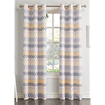 "No. 918 47014 Rex 48 x 84"" Textured Grommet Curtain Panel, Yellow"