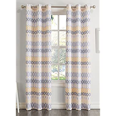 No. 918 Rex 48 x 63 Inch Textured Grommet Curtain Panel, Yellow, 48x84