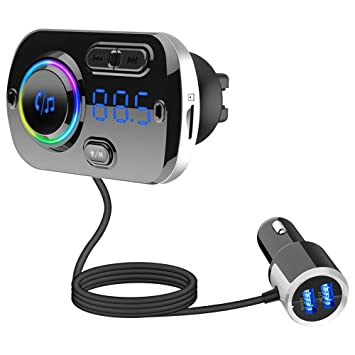 Totoose Bluetooth automóvil Cargador, BC49BQ inalámbrico automóvil Kit Adaptador de Radio automóvil con Kit de Llamada Manos Libres Puertos USB Dobles ...