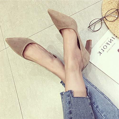 de calzado los caqui 35 zapatos solo 36 punta 7cm Sandalias bold Mujer alto Moda mujer Ocasional zapatos Wild siga Ajunr Transpirable elegante Matt tacón Retro wxqPOAW