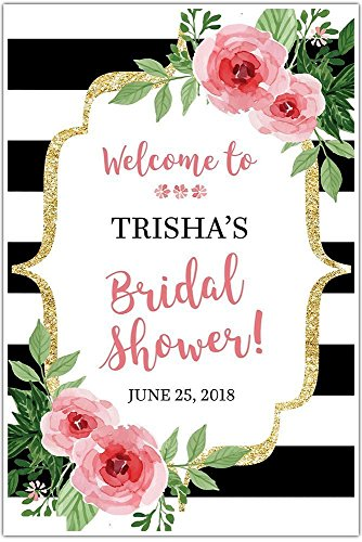 Black and White Striped Floral Welcome Sign for Bridal Shower - Personalized Poster (Kate Party Spade)