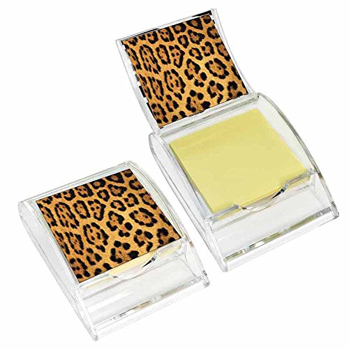 (Leopard Print Sticky Note Holder - Wildlife Animal Theme Design - Stationery Gift - Office Business School Supplies )