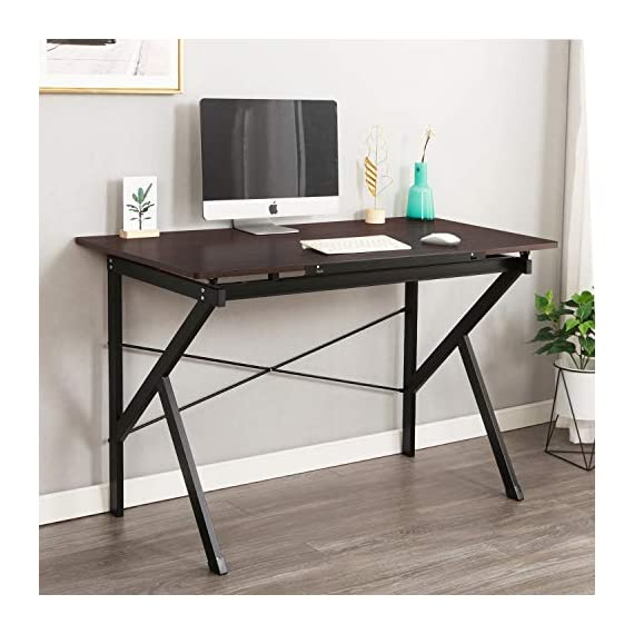 """Soges 47"""" Adjustable Computer Desk, Drawing Desk Sketch Art Desk, Adjustable Drafting Table, Writing Desk Home Office Desk, Walnut SZ011-120-WA - 【5 Adjustable Height Levels ➠】This special desk can be adjusted in 5 levels, perfect for drawing working. The tabletop can be lifted up from 0""""-6.3"""" in height. The pen can be place in the pen slot, the slot can also be remove when using it as writing desk. 【Rich in Function ➠】Overall size: 47.2L x 23.6W x 30.9H inch, providing large working space. It's not only a writing desk or computer desk, but also a drafting table with tiltable surface, perfect for adults or children who has demands on both writing and drawing. 【Firm Material ➠】E1 degree solid particle wood and heavy duty metal frame, anti- resistant on scratch & friction. - writing-desks, living-room-furniture, living-room - 515W0RZl2oL. SS570  -"""