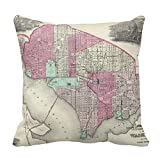 Decorative Cotton 18 X 18 Twin Sides Vintage Map Of Washington D.C. (1866) Pillowcase