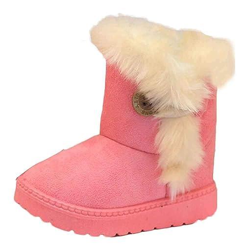 Zapatillas Niñas Invierno, ❤️ Zolimx Moda Recién Nacido Bebé Niñas Niños Nieve Botas Botón de Cachemira Antideslizante Zapatos Calientes