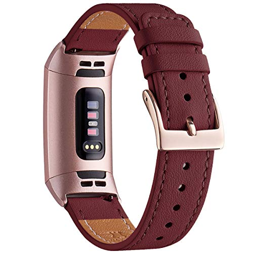 WFEAGL Compatible for Fitbit Charge 2/Charge 3/3 SE Fitness Activity Tracker, Top Grain Leather Band Strap Wristband Replacement of Many Colors (Wine Band+Rose Gold Adapter, Charge3)]()