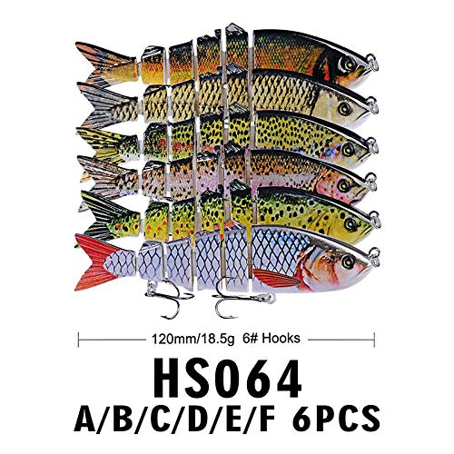 DOITPE Fishing Lures Bass Lures 4.7'' Topwater Lifelike Multi Jointed Trout Artificial Hard Baits Swimbait CrankBaits Fish Tackle Kits in Freshwater and Saltwater (Combo-A(6PCS))