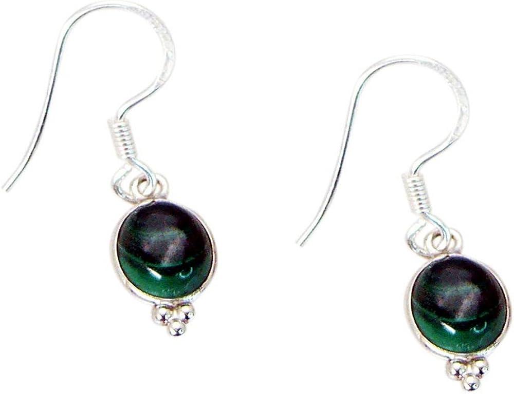 Pendientes de gota de malaquita auténticos para mujeres y niñas, plata de ley, estrológicos para joyería de regalo, forma ovalada