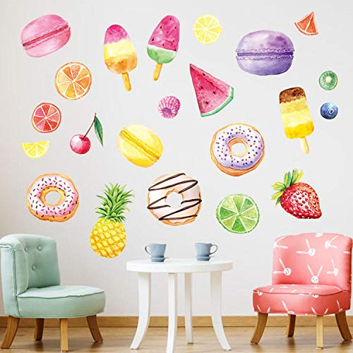 - CYSDN Wall Sticker Ice Cream Macaron Donut Living Room Bedroom Background Decoration, Size: 2828CM