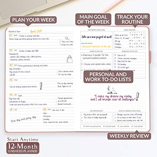 Legend Planner - Deluxe Weekly & Monthly Life Planner to Hit Your Goals & Live Happier. Organizer Notebook & Productivity Journal. A5 Hardcover, Undated - Start Any Time + Stickers - Rose Gold
