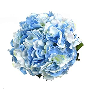 Lacheln Artificial Hydrangea Flowers 5 Big Heads Silk Bunch Bouquet Home Wedding Party Decor 9