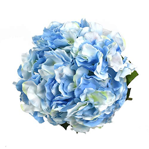 Lacheln Artificial Hydrangea Flowers 5 Big Heads Silk Bunch Bouquet Home Wedding Party Decor (Blue)