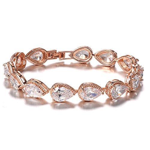 SELOVO Teardrop Rose Gold Tone Chain Tennis Bracelet for Women Lady ()
