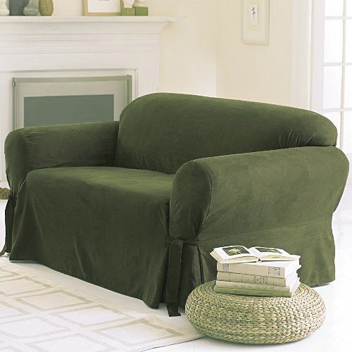 Micro Suede Solid SAGE GREEN Sofa Slipcover - 1 Piece Couch Cover