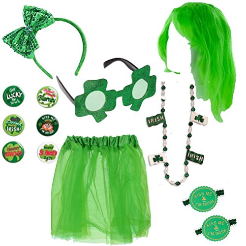 St Patricks Day Costume Set Womens Party Accessories Kit Sequin Bow Headband Skirt Green Wig Novelty Shamrock Glasses Beads Necklace Buttons Irish Garters Pack for Parade or Party (Leprechaun Costume Kit)