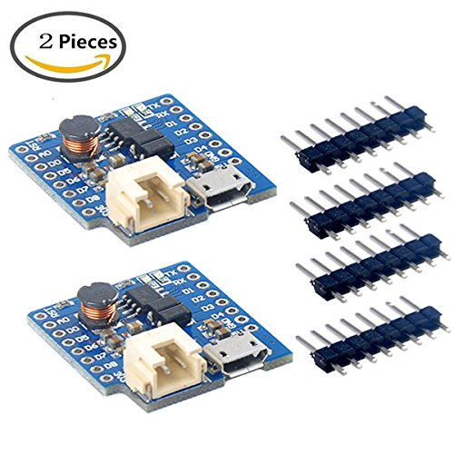 Makerfocus 2pcs D1 MINI Single Lithium Battery Charging Board 1A D1 Lithium Boost Shield for D1 MINI
