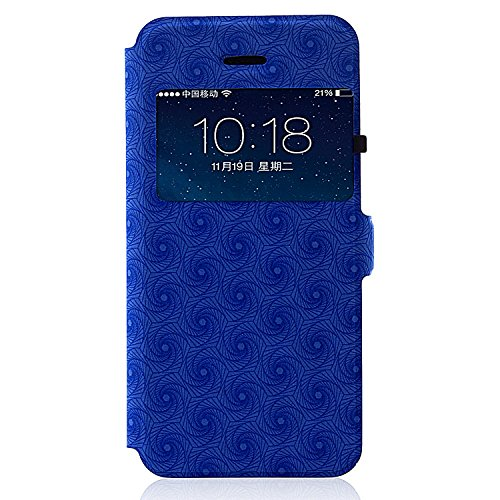 Blue Unique Convenient Window Design Flip Book Style Iphone 5 5s Case Luxury Pure Pu Leather Combine SGS Certificated TPU Rubber Skin Soft Gel Back Cover Shell Bring You Perfectly Classic Showing Style