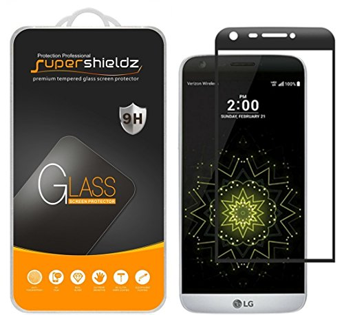 [2-Pack] Supershieldz for LG G5 Tempered Glass Screen Protector, [Full Screen Coverage] Anti-Scratch, Bubble Free, Lifetime Replacement Warranty (Black) by Supershieldz