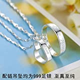 Generic S999_ sterling Silver necklace Pendant man boy couple _domineering_center fine Silver necklace Pendant ring _thousands feet_under_paragraph_one_pair lettering women girl students