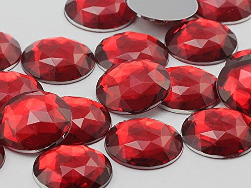 30mm Red Ruby H103 Flat Back Round Acrylic Gems High Quality Pro Grade - 12 Pieces