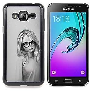 """Qstar Arte & diseño plástico duro Fundas Cover Cubre Hard Case Cover para Samsung Galaxy J3(2016) J320F J320P J320M J320Y (Muchacha Con Los Vidrios"""")"""