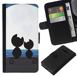KLONGSHOP // Tirón de la caja Cartera de cuero con ranuras para tarjetas - Gatos Amor Pareja Pareja Moonlight Arte Negro - Samsung Galaxy Core Prime //