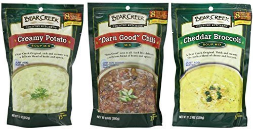 10 Ounce Chili (Bear Creek Country Kitchens Soup Mix 3 Flavor Variety Bundle: (1) Cheddar Broccoli Soup Mix, (1) Darn Good Chili Mix, and (1) Creamy Potato Soup Mix, 9.8-11.2 Oz. Ea. by Bear Creek)