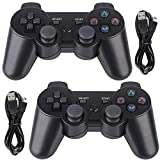 PS3 Controller Wireless 2 Pack Double Shock Bluetooth Joystick Gaming Controller for Playstation 3 with Charger Cable (PS3 Controller 2 Pack, Black)
